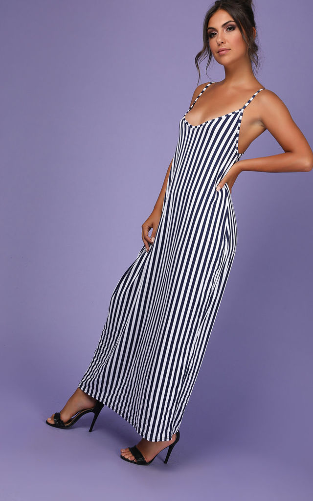 Strappy Navy Striped Cami Maxi Dress by Oops Fashion