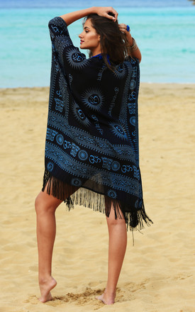 Beach Cover Up Kaftan Kimono in Ohm Print Black by likemary