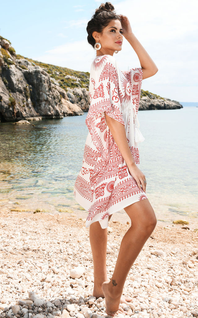 Beach Cover Up Kaftan in Ohm Print White by likemary