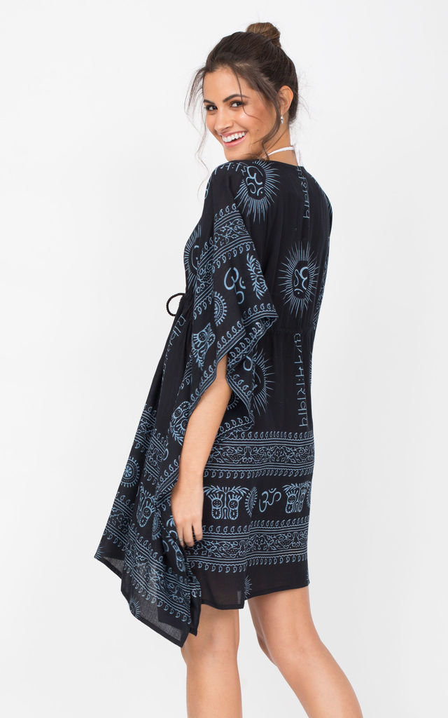 Beach Cover Up Kaftan in Ohm Print Black by likemary