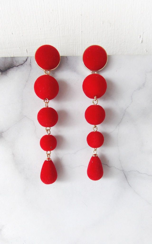 Red Velvet Drop Statement Earrings by Olivia Divine Jewellery