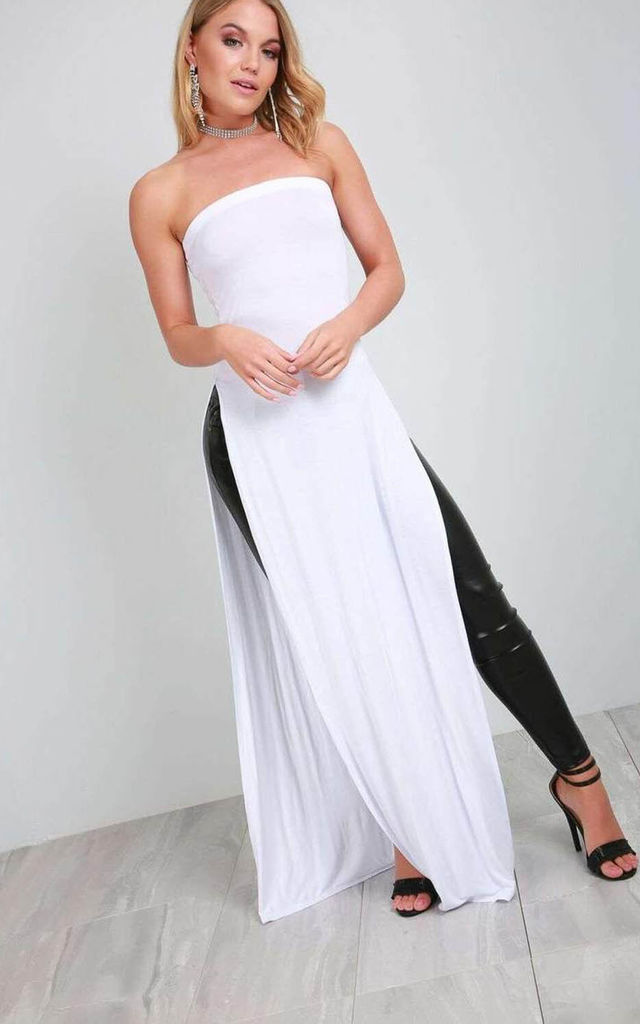 White Bardot Side Split Jersey Maxi Dress by Oops Fashion