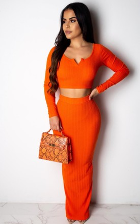 Orange coord midi skirt set by Unscripted