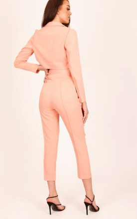 Cigarette Trousers with Front Seam in Neon Orange by Hachu
