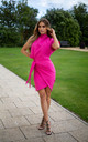 Hot Pink Callie Tailored Wrap Dress by Rag & Doll