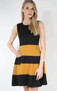 Mustard Colour Block Mini Skater Dress by Oops Fashion