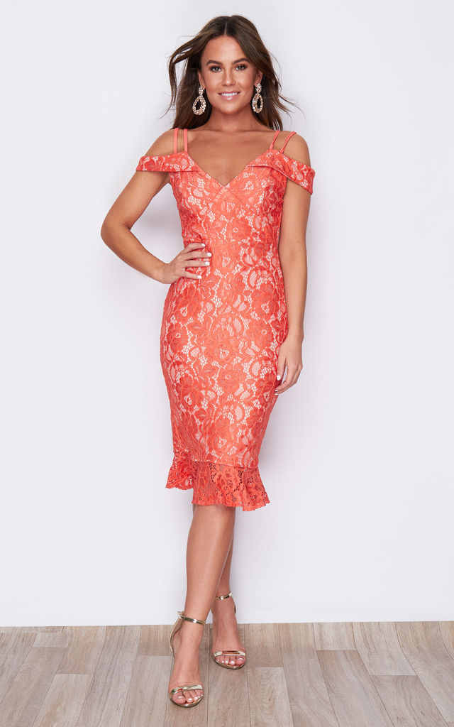 Faith Lace Off The Shoulder Midi Dress Coral by Girl In Mind