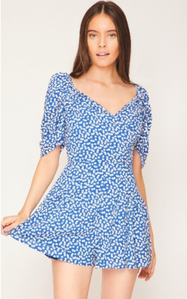 Puff Sleeve Playsuit in Blue Ditsy Floral Print by Hachu