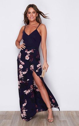 Farah Cami Split Maxi Dress Navy Floral by Girl In Mind