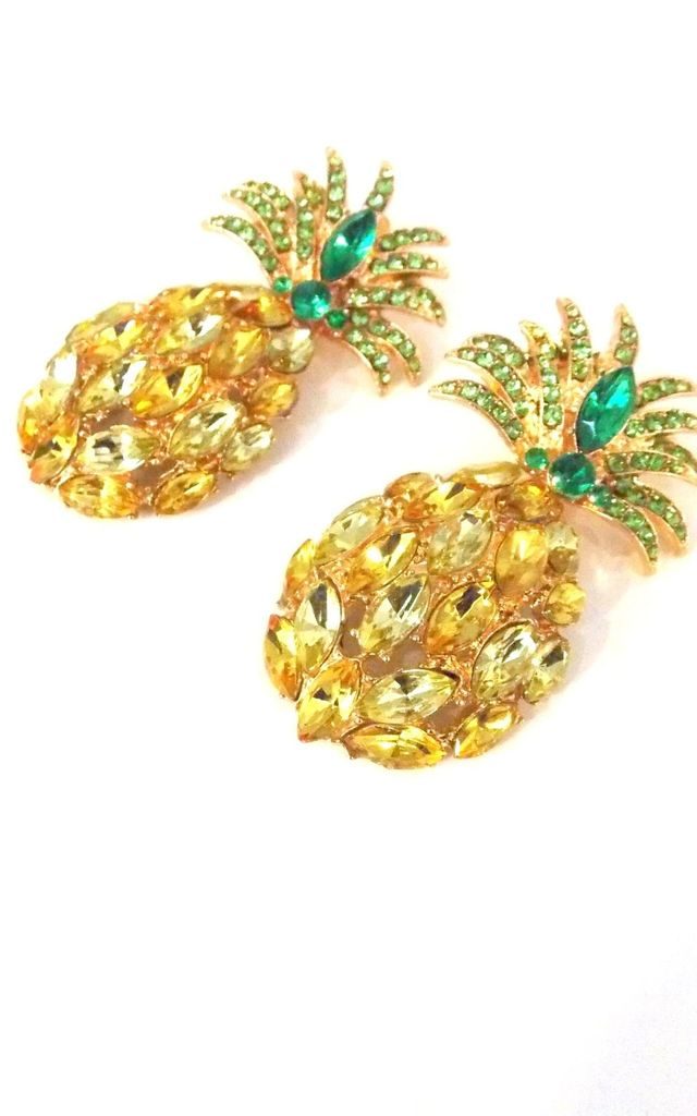 Yellow Jewelled Pinele Statement Earrings By Olivia Divine Jewellery