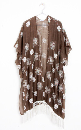 Floral Embroidery Tassel Trim Summer Holiday Kimono in Khaki Green by Urban Mist