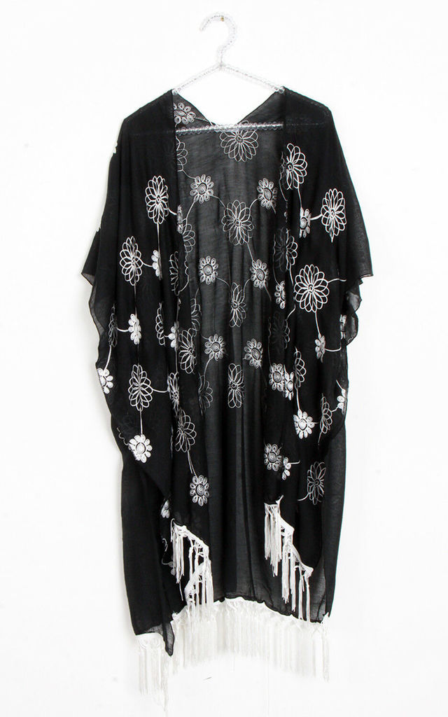 Floral Embroidery Tassel Trim Summer Holiday Kimono in Black by Urban Mist