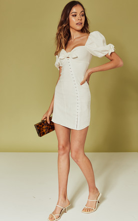 Macaroon Hook Front Mini Dress In White by For Love And Lemons Product photo