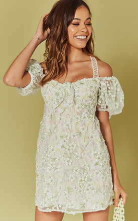 ECLAIR MINI DRESS IN WHITE Embroidered FLORAL by For Love And Lemons
