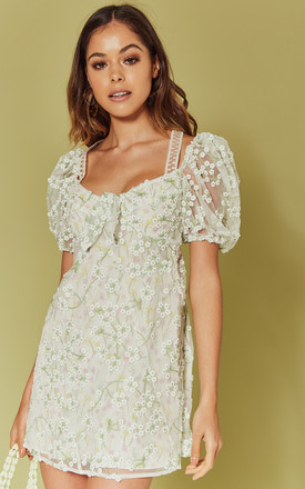Eclair Mini Dress In White Embroidered Floral by For Love And Lemons Product photo