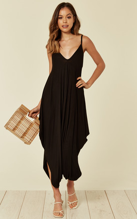 Strappy Harem Jumpsuit with V Neck in Black by Verso Fashion