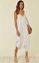 Strappy Harem Jumpsuit with V Neck in White by Verso Fashion