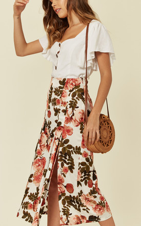Floral Midi Slip Skirt With Side Slits by UNIQUE21
