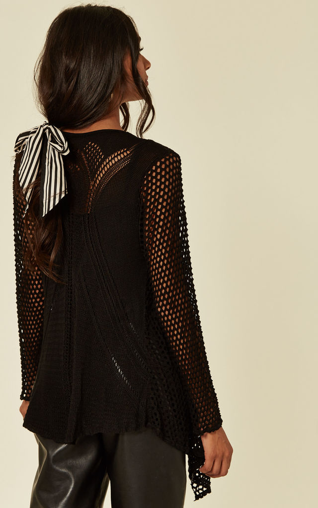 ODETTA - Black Eyelet Cardigan by Blue Vanilla