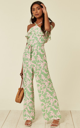Rose Halter Neck Frill Jumpsuit in Pink Green Star by Love