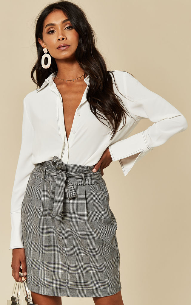 Paperbag Mini Skirt in Grey Check by VM