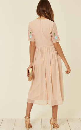 Helga Embroidered Midi Dress in Pink by Lace & Beads