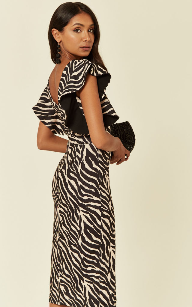 Amelia Creme and Black Zebra Print Ruffle Sleeve Midi Dress by WalG