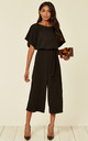 Stacy Batwing Black Culotte Jumpsuit by WalG
