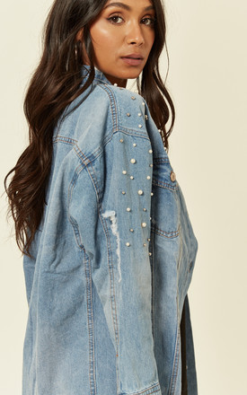 Denim Oversized Pearl Embellished Jacket by Off The Railz