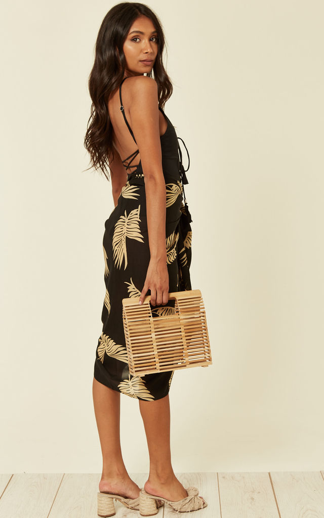 Sarmora Sarong in Black and Gold Parlor Palm Print by Kitten Beachwear