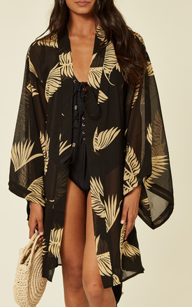 Sarmora Kimono in Black and Gold Parlor Palm Print by Kitten Beachwear