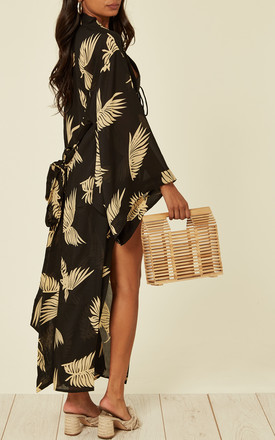 Sarmora Maxi Kimono Black and Gold Parlor Palm Print by Kitten Beachwear