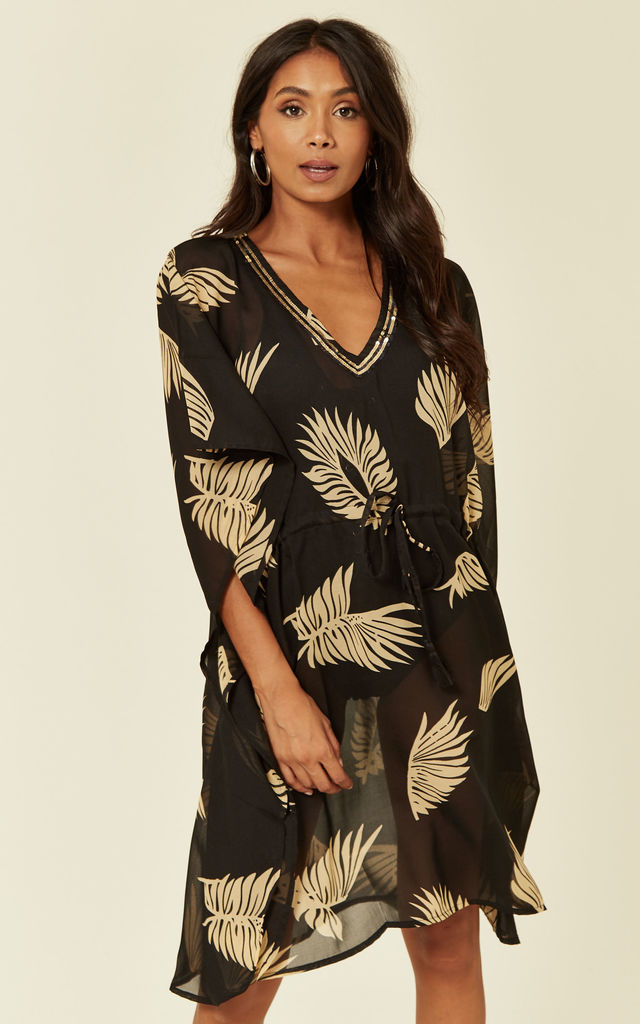 Sarmora Kaftan in Black and Gold Parlor Palm Print by Kitten Beachwear