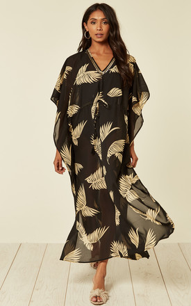 Sarmora Maxi Kaftan In Black And Gold Parlor Palm Print by Kitten Beachwear Product photo