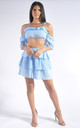 Broderie Crop Top and Mini Skirt Co-Ord Set in Light Blue by Miss Toxic