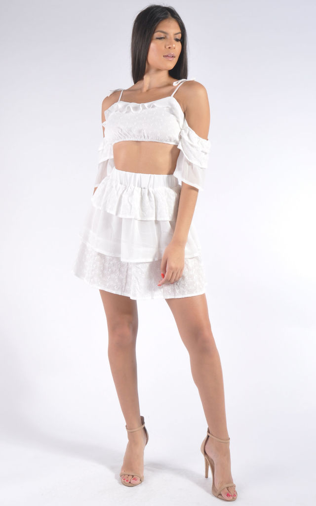 Broderie Crop Top and Mini Skirt Co-Ord Set in White by Miss Toxic