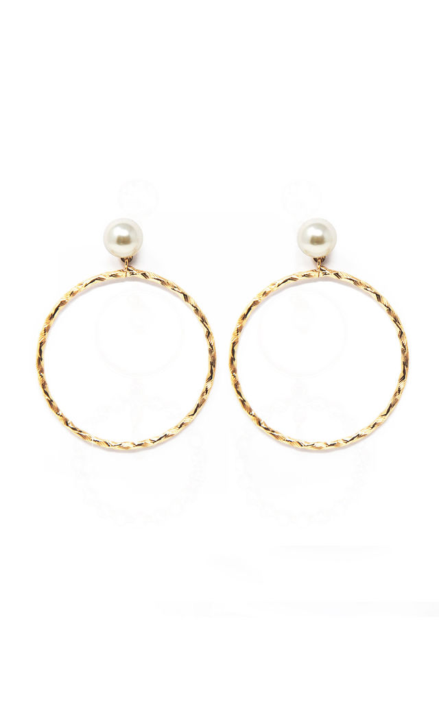 Pearl Front Facing Hoops by Johnny Loves Rosie