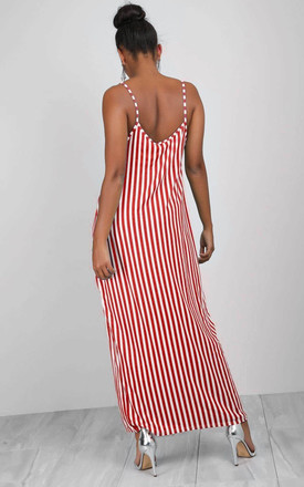 Red Strappy Striped Cami Maxi Dress by Oops Fashion