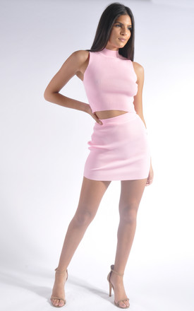 Ribbed Crop Top and Mini Skirt Co-Ord Set in Baby Pink by Miss Toxic