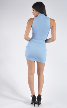 Ribbed Crop Top and Mini Skirt Co-Ord Set in Light Blue by Miss Toxic