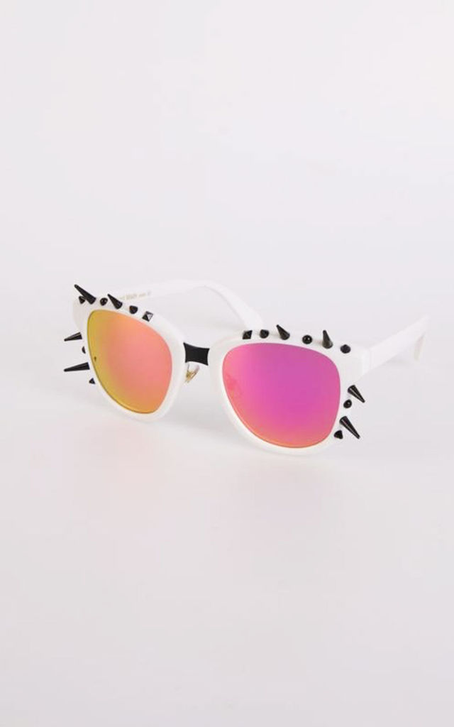 Vintage Retro Spike Detail Tinted Sunglasses in White by Urban Mist