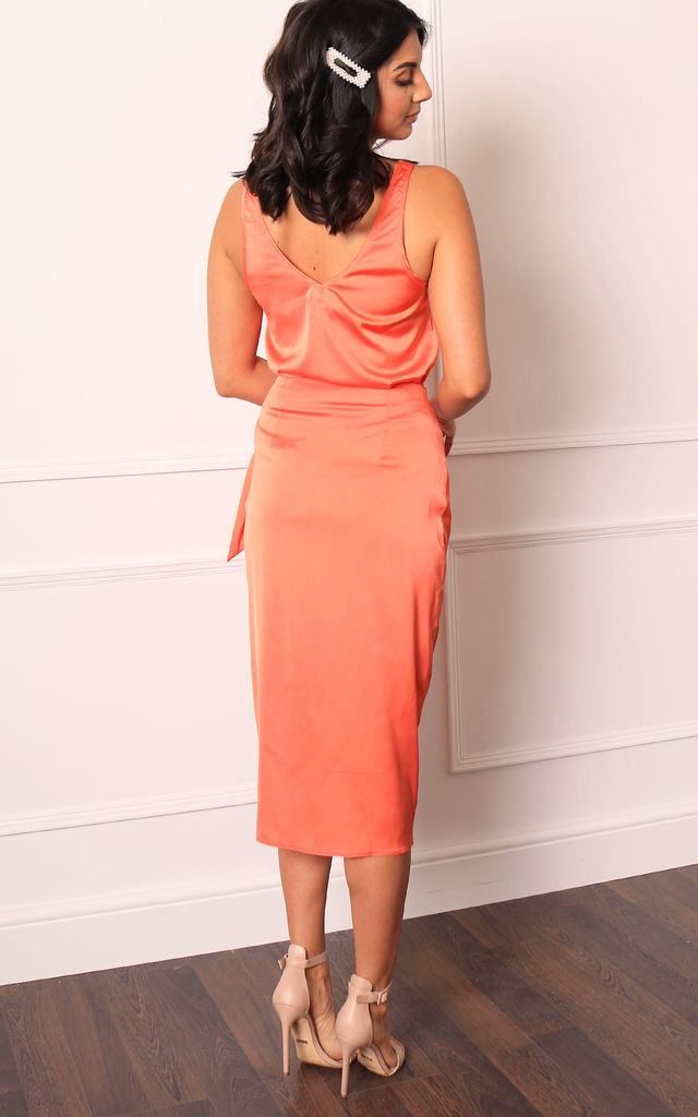 Coral Orange Satin Wrap Midi Skirt with Curved Hem by One Nation Clothing