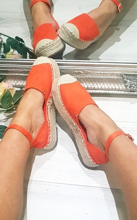 Orange Flatform Espadrille Sandle by FOXY FROX