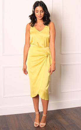 Lemon Yellow Satin Wrap Midi Skirt with Curved Hem by One Nation Clothing
