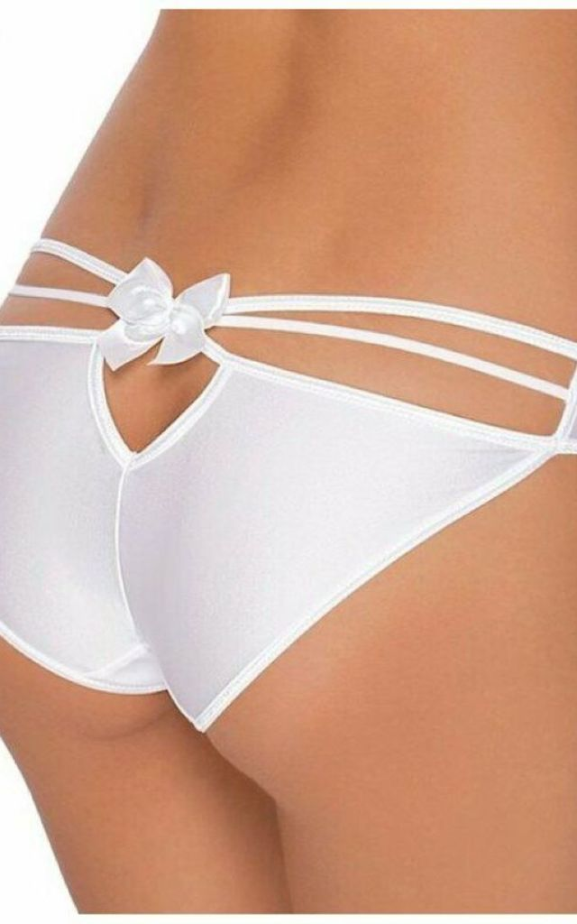 Mimi White Strappy Bow Knickers by BB Lingerie