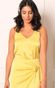 Satin Wide Strap Vest Top in Lemon Yellow by One Nation Clothing
