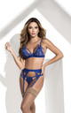 3 Lingerie Piece Set with Garter in Blue by MAPALE
