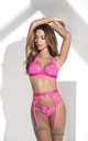 3 Lingerie Piece Set with Garter in Hot Pink by MAPALE