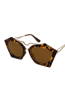 Angular Hexagon Cat Eye Sunglasses In Tortoise Shell Print by Urban Mist