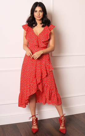 Polka Dot Sleeveless Frill Wrap Midi Dress In Red & White by One Nation Clothing Product photo